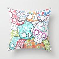 sugar skulls Throw Pillows featuring skulls sugar by wet yeti