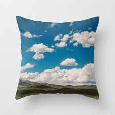 Puffy White Clouds with Blue Sky and Green Meadow Hills Throw Pillow