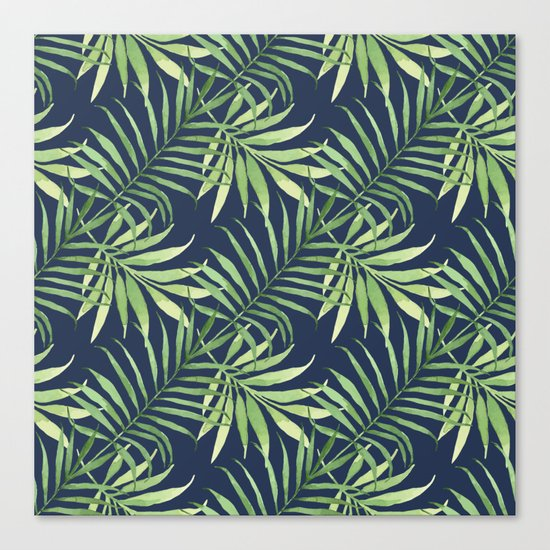 Tropical Branches on Dark Pattern 05 Canvas Print