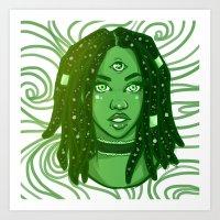 Rainbow Girls - Green  Art Print