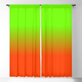 Neon Green and Neon Orange Ombré  Shade Color Fade Blackout Curtain