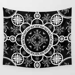 Scarab tile line pattern with black Background Wall Tapestry