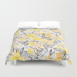 Sunny Yellow Crayon Striped Summer Floral Duvet Cover
