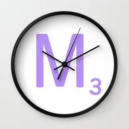 Purple Letter M Scrabble Monogram Wall Clock
