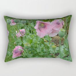 Poppies in rain Rectangular Pillow