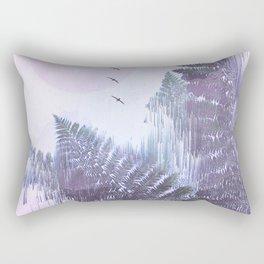 Frozen Fern by the Moon - Glitch Art Rectangular Pillow