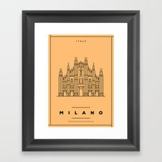 Minimal Milano City Poster Framed Art Print