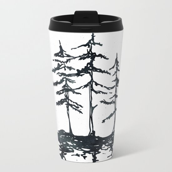 THE THREE SISTERS Black and White Metal Travel Mug
