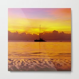 Tropical Sunset and Sailboat Silhouette in South Pacific Metal Print