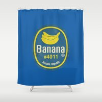 sticker Shower Curtains featuring Banana Sticker On Blue by Karolis Butenas