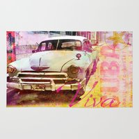 cuba Area & Throw Rugs featuring Viva Cuba by LebensART
