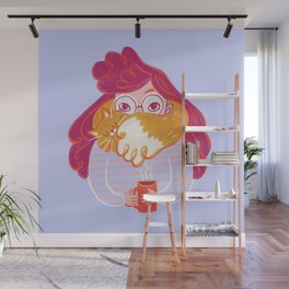 Cozy Cat Scarf Coffee Time Wall Mural