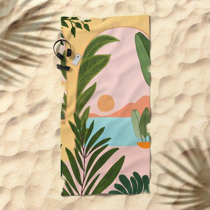 Moroccan Coast - Tropical Sunset Scene Beach Towel