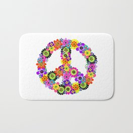 Peace Sign of Flowers Bath Mat