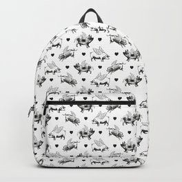 Flying Pigs | Vintage Pigs with Wings | Black and White | Backpack