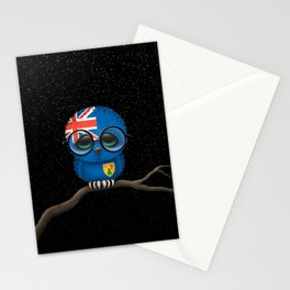 Baby Owl with Glasses and Turks and Caicos Flag Stationery Cards