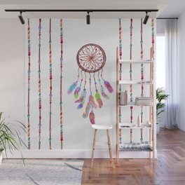 Hand Painted Watercolor Dreamcatcher Beads Feather Wall Mural