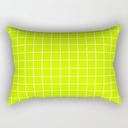 Volt - green color - White Lines Grid Pattern Rectangular Pillow