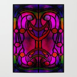 Art Nouveau Glowing Stained Glass Window Design Poster
