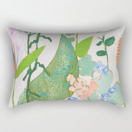 Multi Floral Painting on Pink and White Background Rectangular Pillow