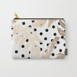 Simply Tropical White Gold Sands Palm Leaves on Dots Carry-All Pouch