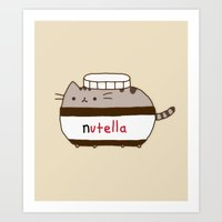 nutella Art Prints featuring Nutella Cat by Wis Marvin