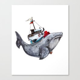 The FloatingWhale And The Ship Canvas Print