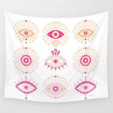 Evil Eyes – Pink Ombré Palette Wall Tapestry