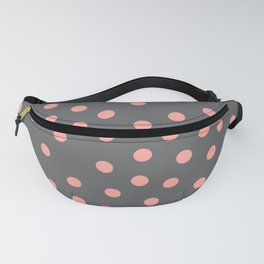 Simply Dots Salmon Pink on Storm Gray Fanny Pack