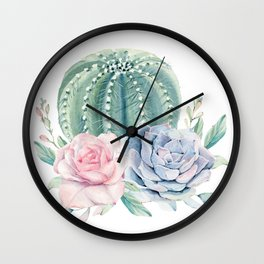 Cactus Rose Succulents Wall Clock
