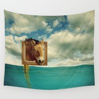 sea horse Wall Tapestries featuring Sea Horse by Ross Sinclair