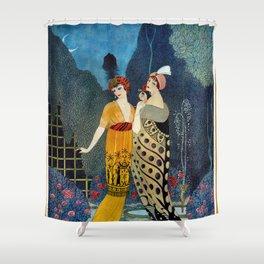 Les Modes, Art Deco Women in Poiret Evening Wear Roaring Twenties portrait painting - George Barbier Shower Curtain