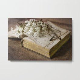 Old book and queen Anna lace flowers Metal Print