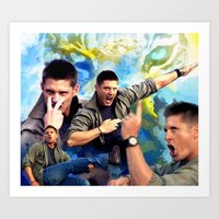winchester Art Prints featuring Dean Winchester  by Katerina Gold