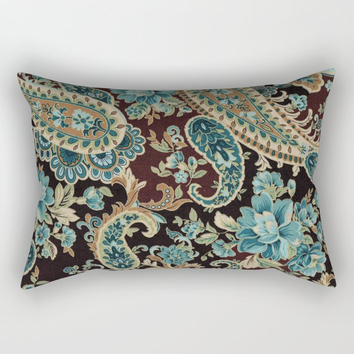 Brown Turquoise Paisley Rectangular Pillow