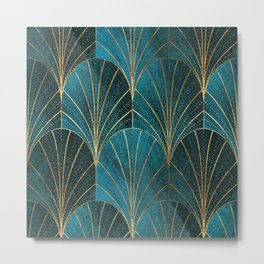Art Deco Waterfalls // Ombre Teal Metal Print