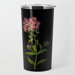 Phlox Undulata Mary Delany Vintage British Floral Flower Paper Collage Black Background Travel Mug