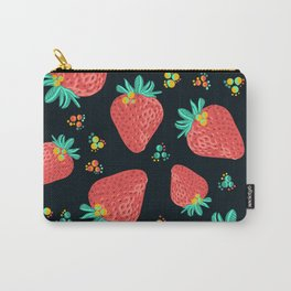 Strawberries   Black Carry-All Pouch