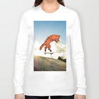 skateboard Long Sleeve T-shirts featuring Skateboard FOX! by Jesse Robinson Williams