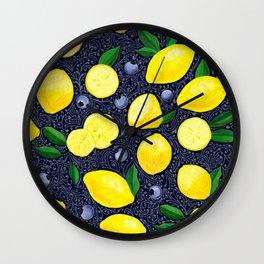 Lemon Blueberry Tart Wall Clock