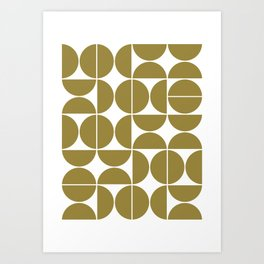 Mid Century Modern Geometric 04 Flat Gold Art Print