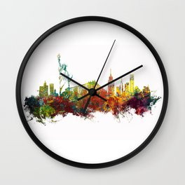Colored New York City skyline Wall Clock