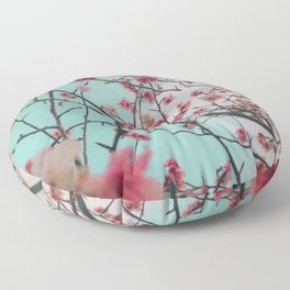 Aesthetic Pink Cherry Blossoms Flowers Floor Pillow
