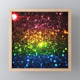 Rainbow Sparkle Galaxy Stars Framed Mini Art Print