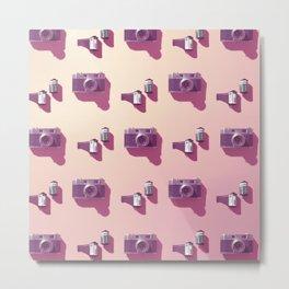 Film & vintage camera in pink Metal Print