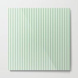 Small Christmas Green Mattress Ticking Stripes on Snow White Metal Print