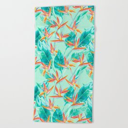 Birds Of Paradise Mint Beach Towel