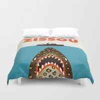 steve zissou Duvet Covers featuring Zissou by Wharton