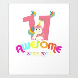 Awesome Since 2007 Unicorn 11th Birthday Anniversaries Art Print