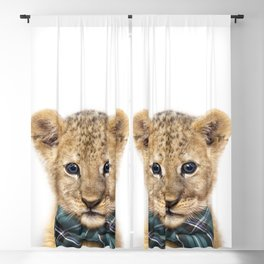 Baby Lion With Bow Tie, Baby Animals Art Print By Synplus Blackout Curtain